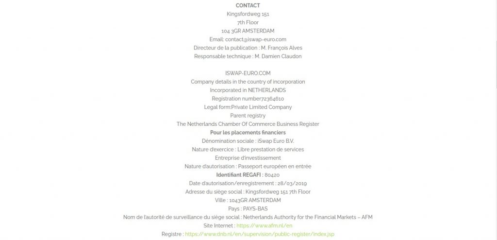 Les mentions légales sur Iswap-euro.com