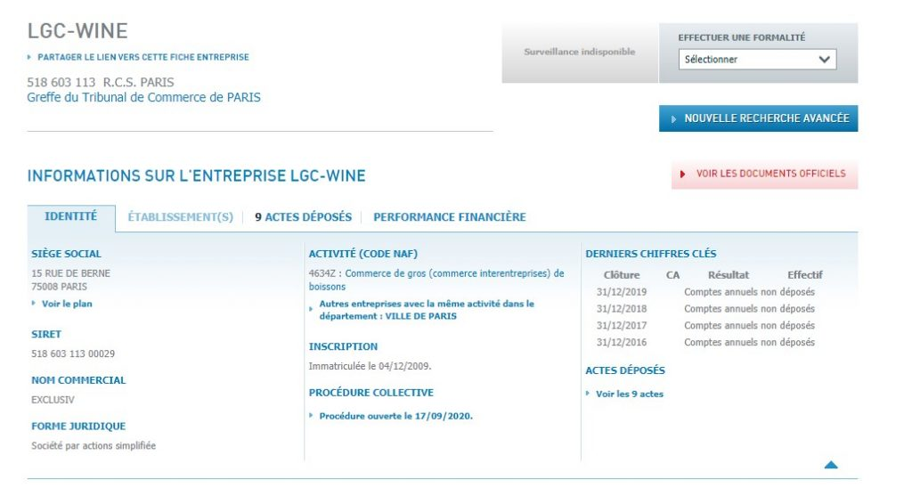 LGC-WINE, une entreprise enregistrée à l'Infogreffe, est malheureusement victime d'une usurpation d'identité sur Lgc-wine.com.